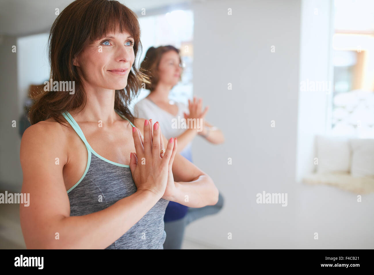 Portrait of fitness woman in doing yoga. Female trainer with student practicing Vrikshasana. Tree Pose with hands - Stock Image