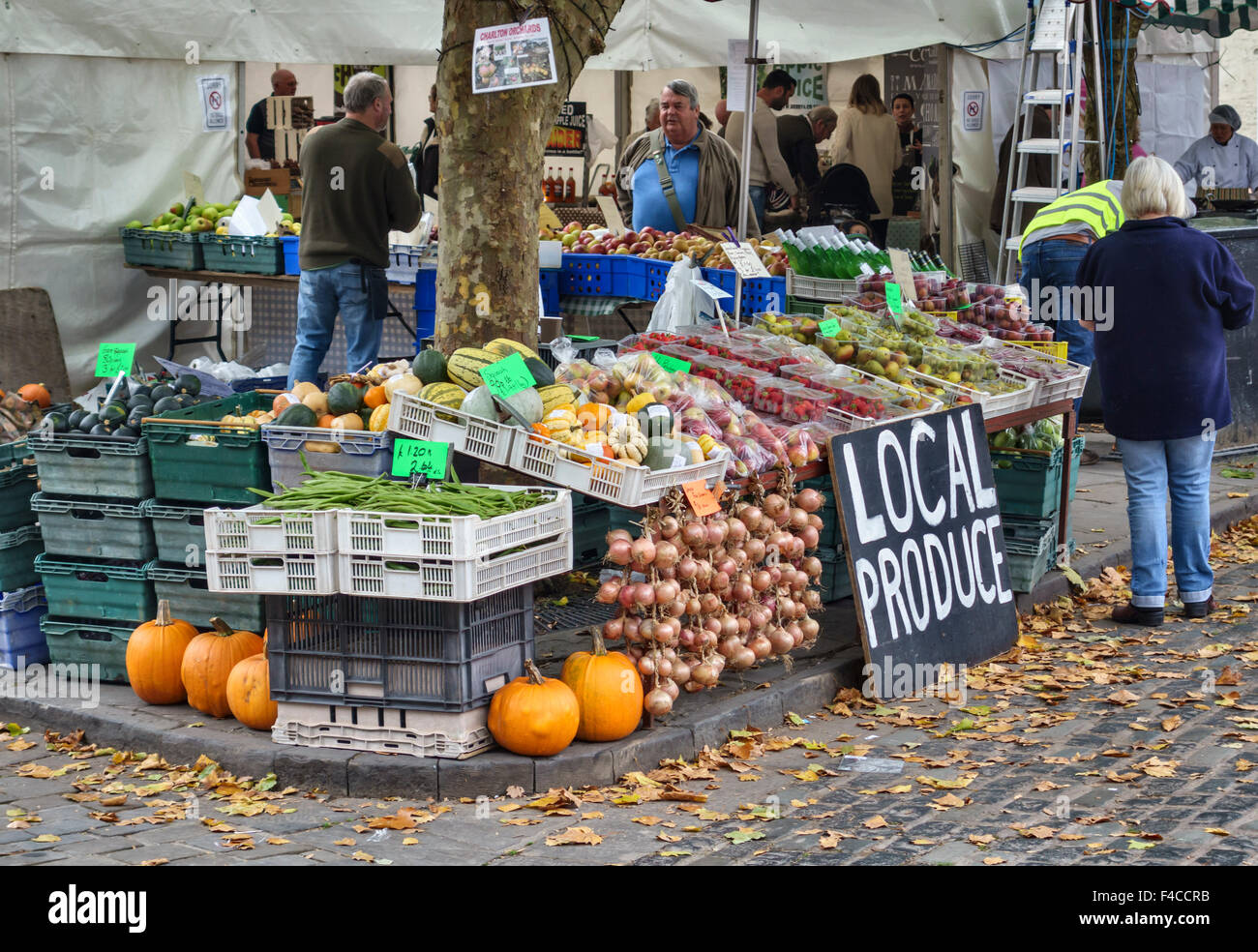 Wells, Somerset, UK. The annual Wells Food Festival in the Market Square in October. There is also a weekly farmers' - Stock Image