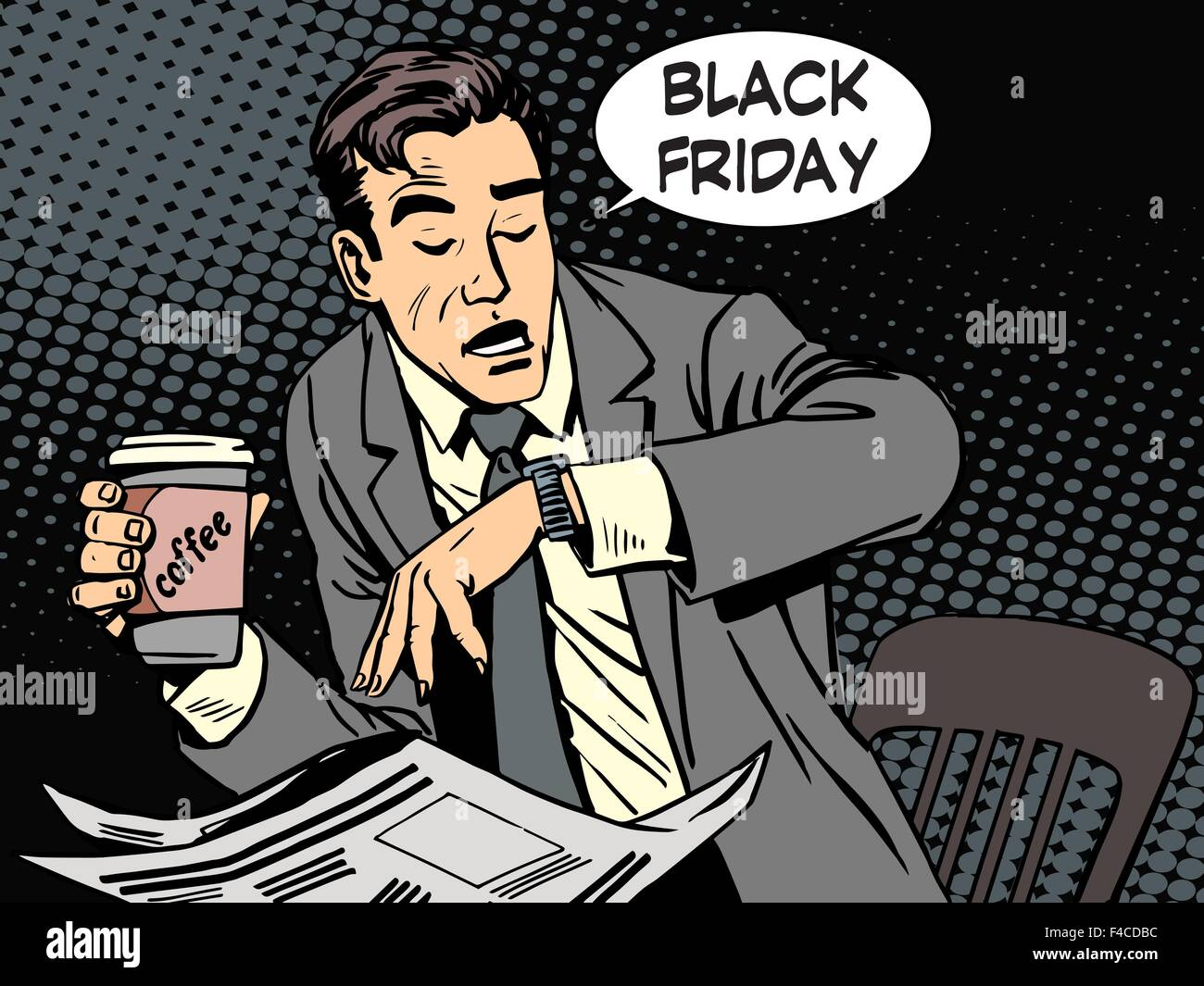 Black Friday businessman in cafe - Stock Vector