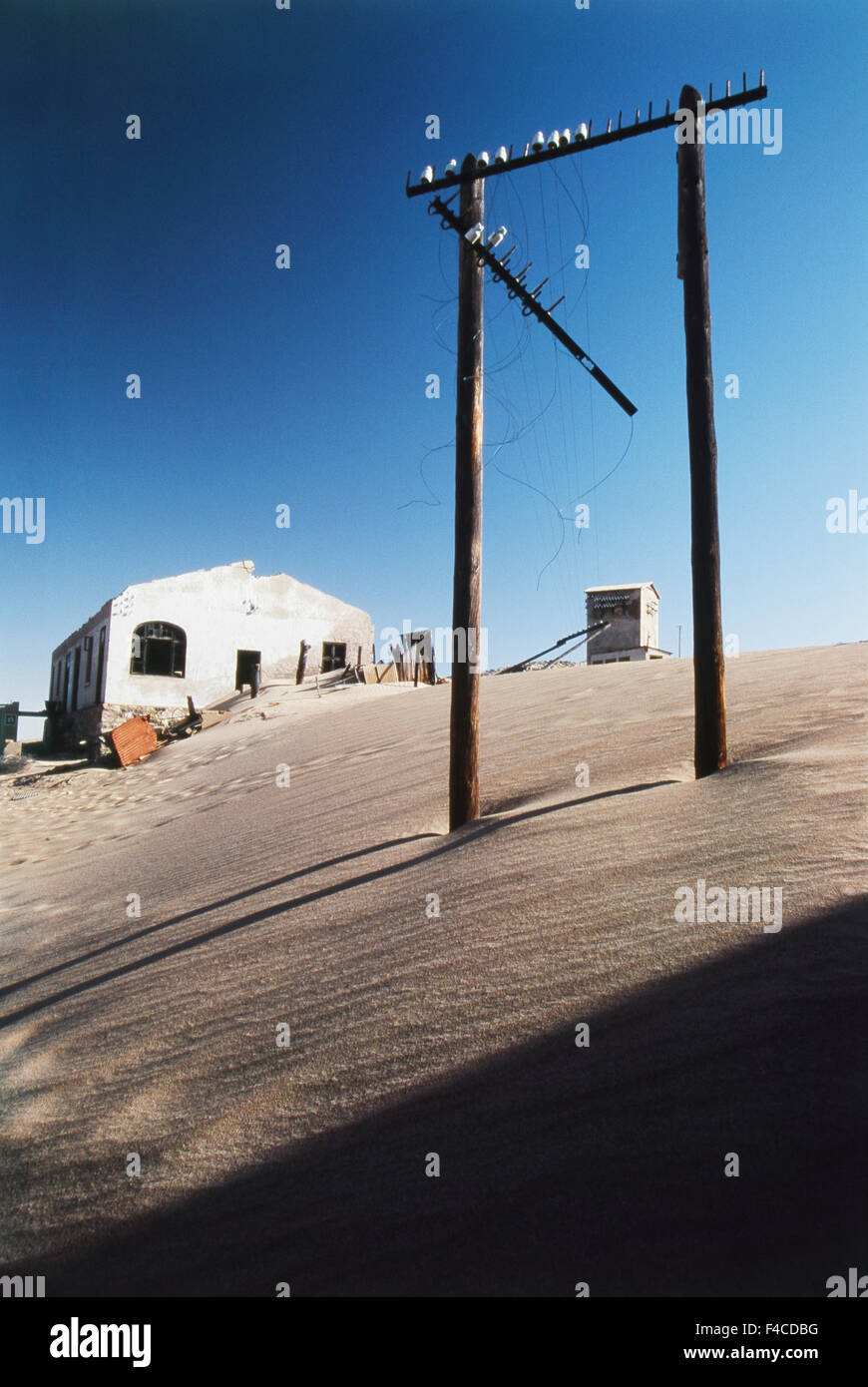 Namibia, Luderitz, Kolmanskop, South Coast, Kolmanskop ghost town, Mining town view Afternoon. (Large format sizes - Stock Image