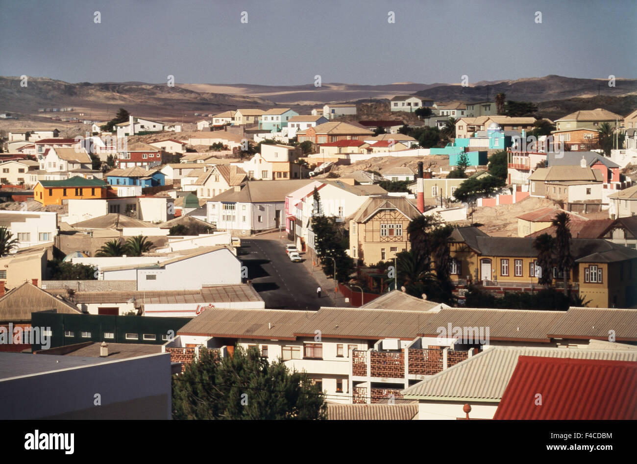 Namibia, Luderitzbucht (Luderitz), south coast, German colonial architecture at Town view. (Large format sizes available) - Stock Image