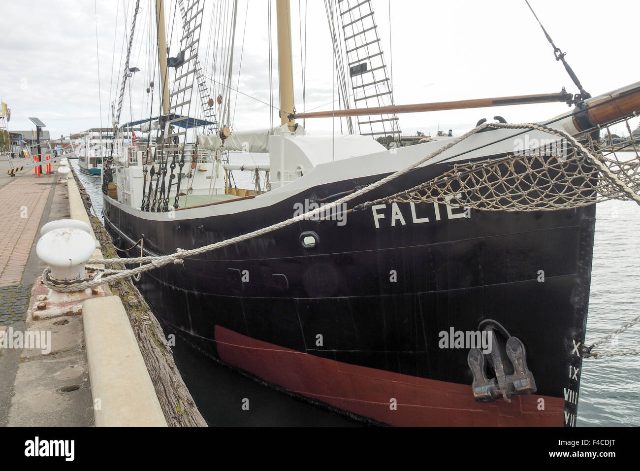 Falie, a ketch berthed at Port Adelaide. - Stock Image
