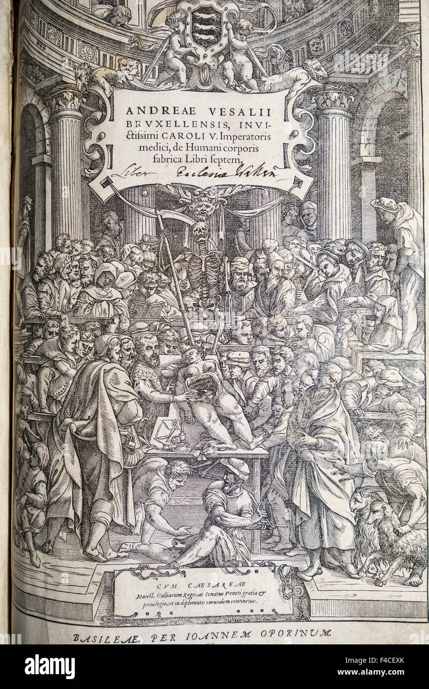 Title page of the first edition (1543) of De Humani Corporis Fabrica Libri Septem (On the Fabric of the Human Body - Stock Image