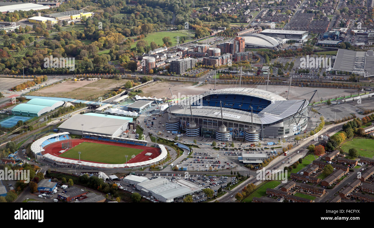 aerial view of The Etihad Stadium & Manchester Regional Arena & National Squash Centre, Manchester, UK - Stock Image