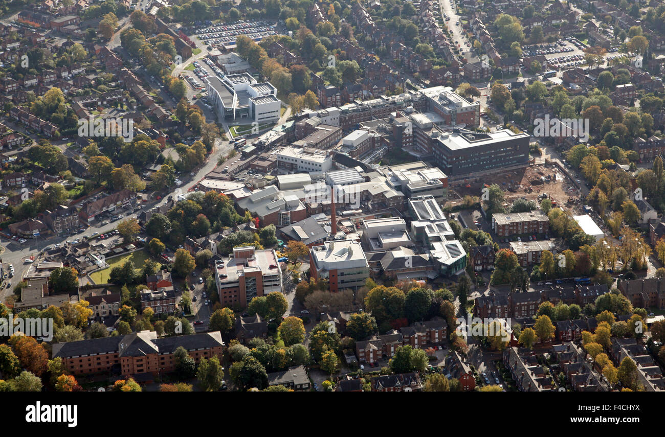 aerial view of The Christie Hospital in Manchester, UK - Stock Image