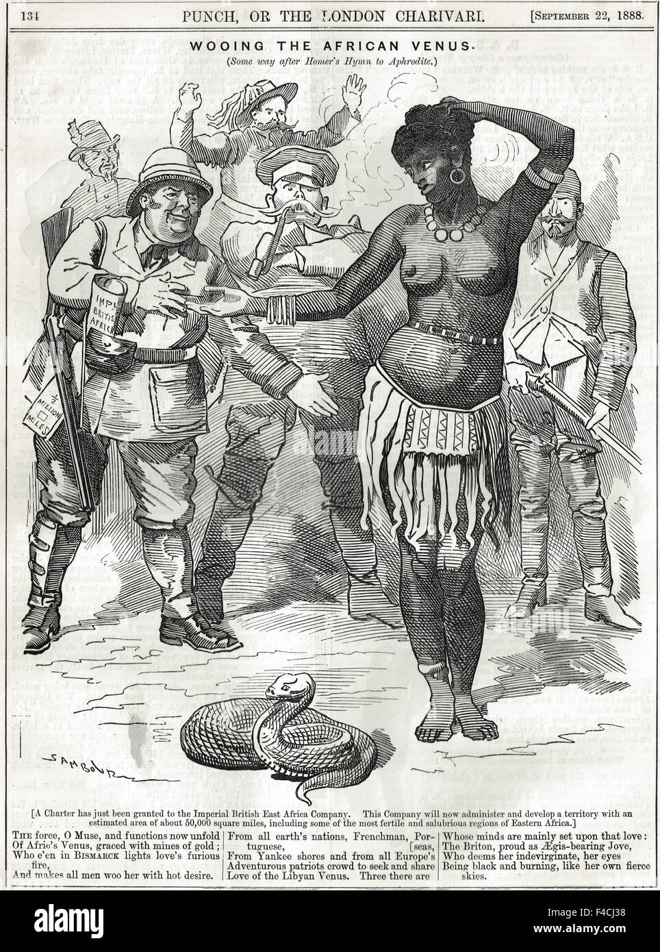 Punch Cartoon 1888 wooing the African Venus - Stock Image