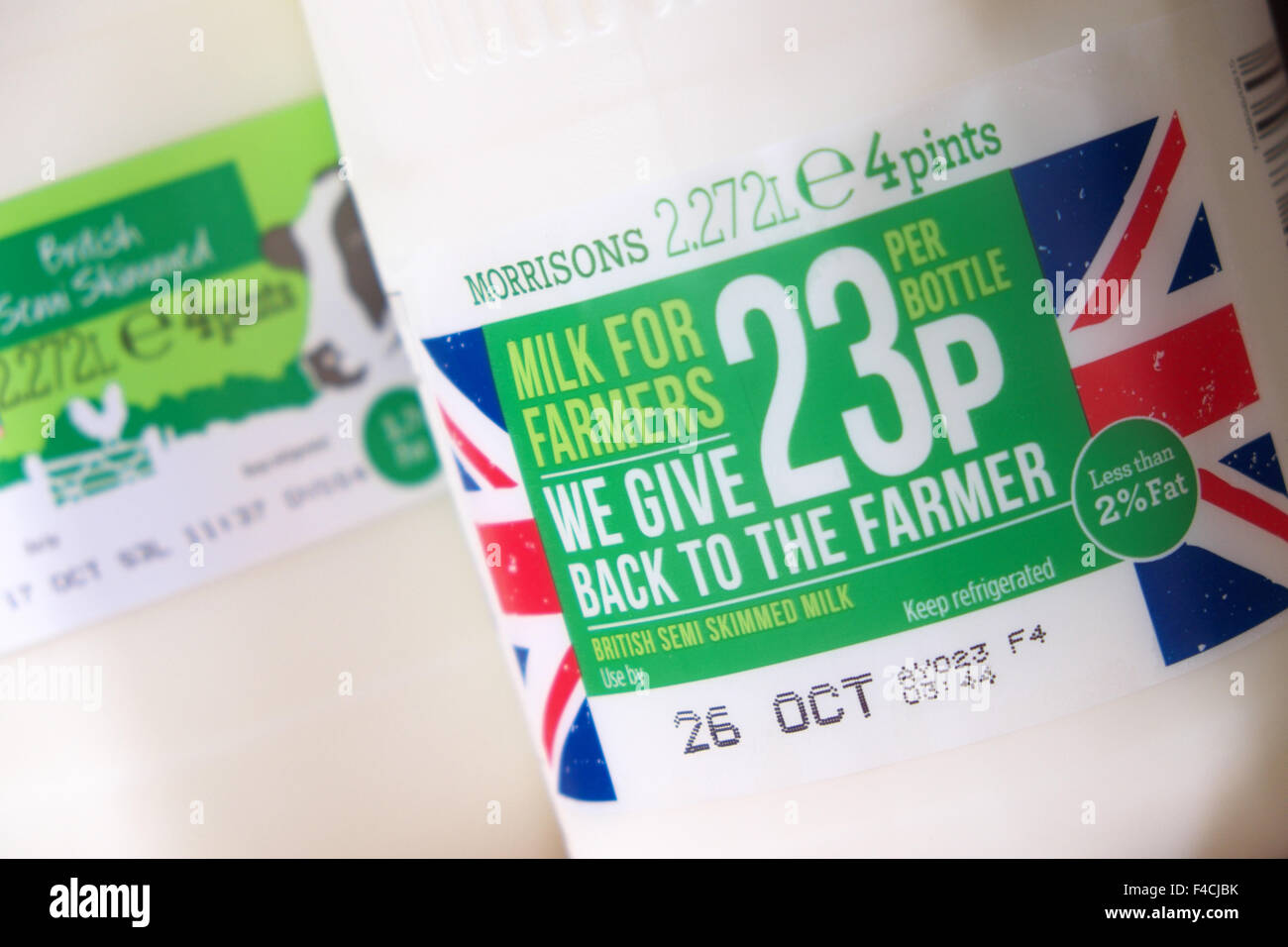 UK. 16th October 2015 - Morrisons supermarket have now introduced their own brand 'Milk For Farmers' product. - Stock Image