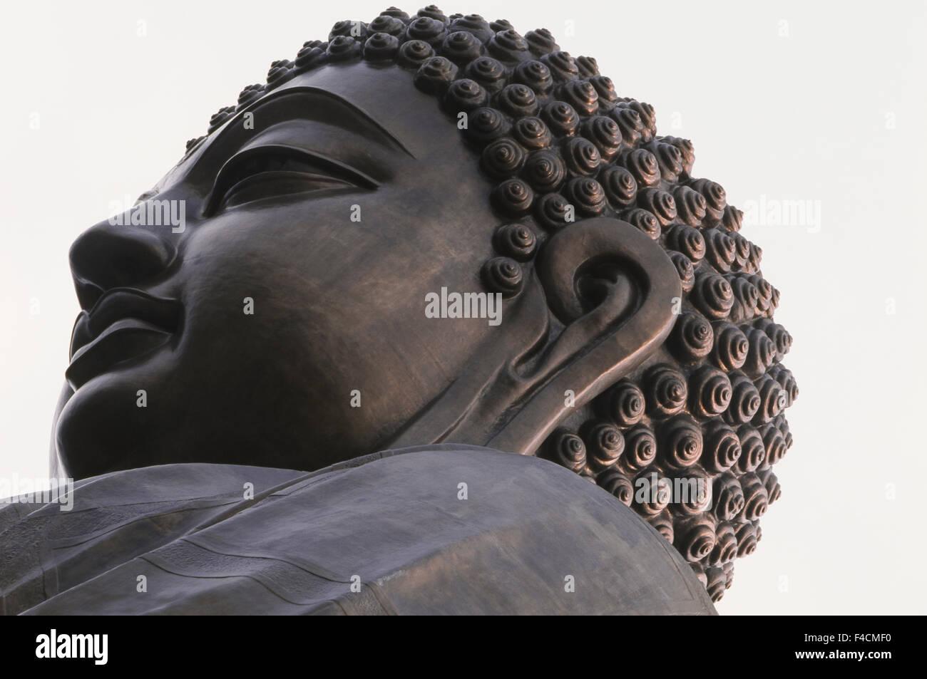 Hong Kong, Lantau Island, Po Lin Monastery, Buddha-Lantau Island, Close-Up, Statue of largest Buddha. (Large format - Stock Image
