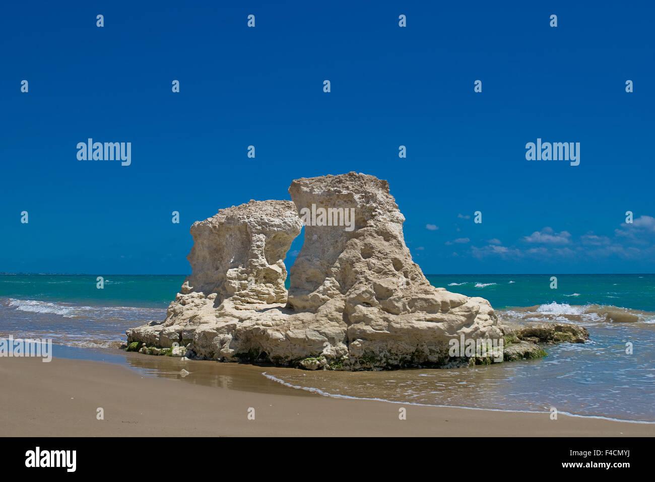 Limestone Rock Formation along the coast of Pozzallo, Italy. Stock Photo