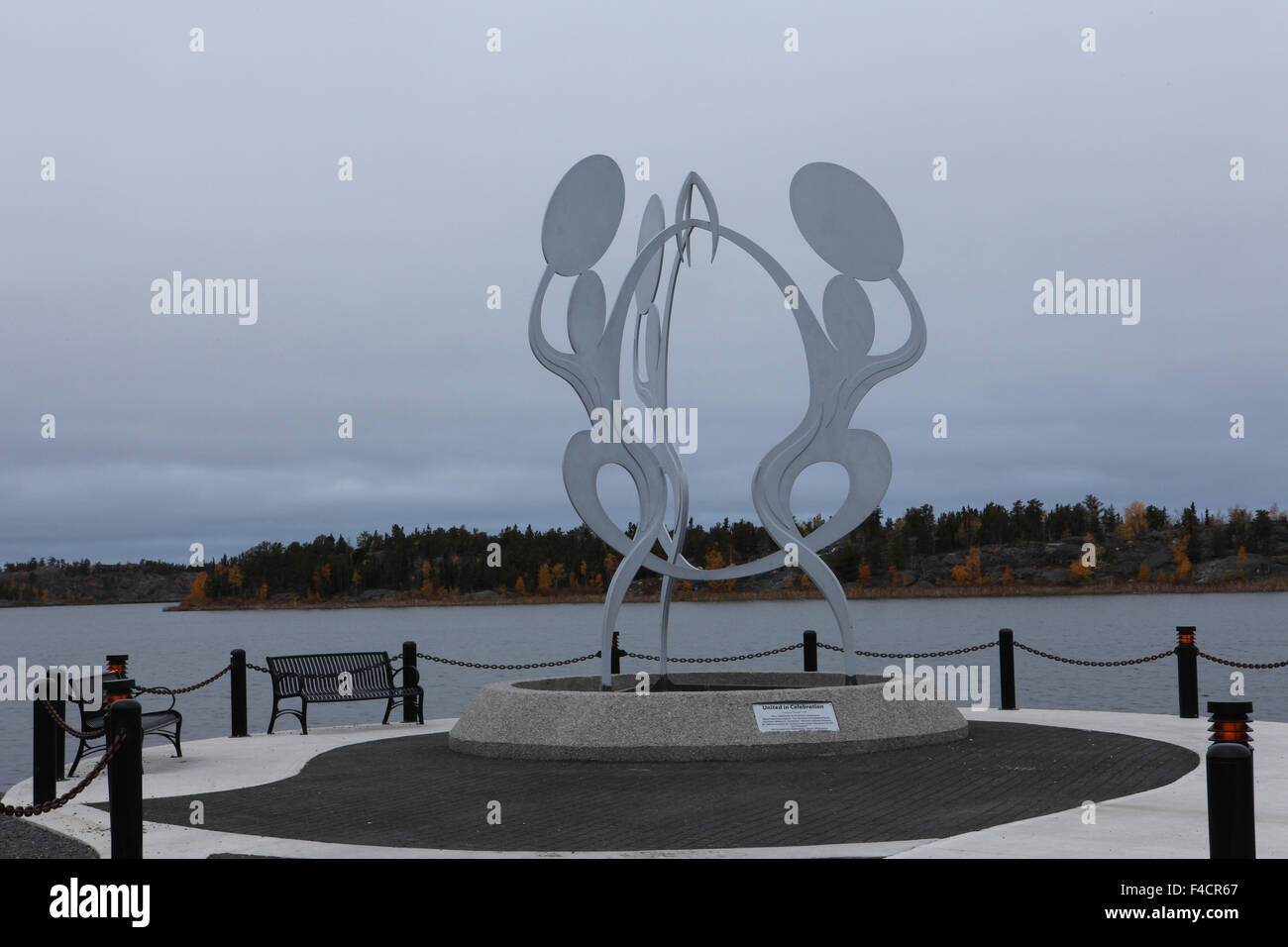 Sculptures in Yellowknife, Northwest Territories, Canada.  United in Celebration - Stock Image