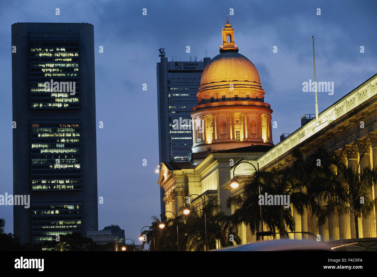 Singapore. Supreme court building at night. (Large format sizes available) - Stock Image