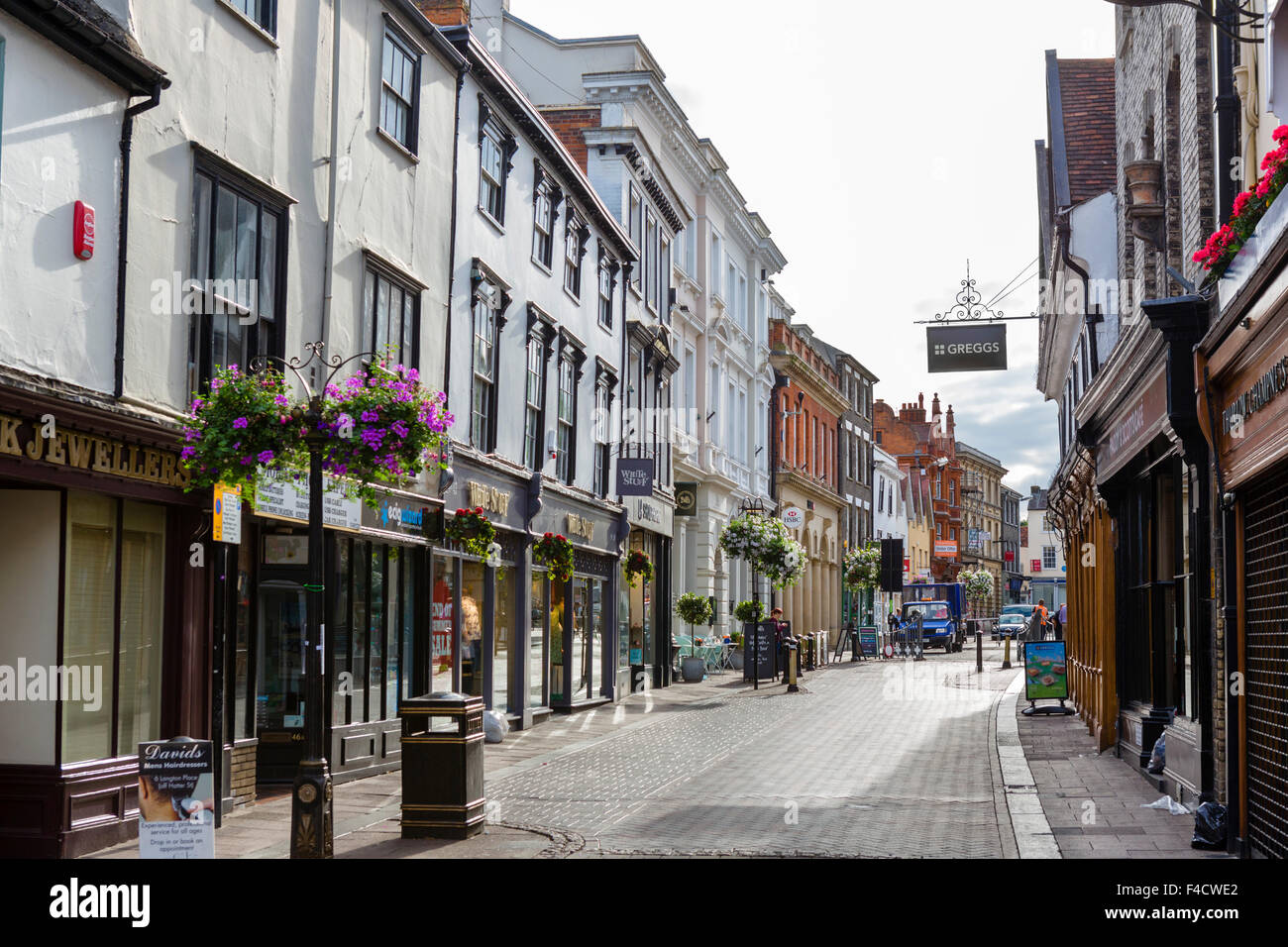 Shops on Abeygate Street in the town centre, Bury St Edmunds, Suffolk, England, UK - Stock Image