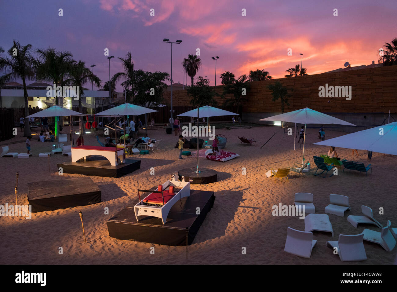 Artifical beach at the Activate sports club in Baobab Suites five star resort in Costa Adeje, Tenerife, Canary Islands, - Stock Image