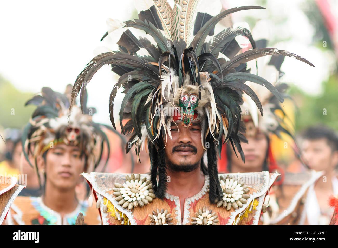 The Dayak of Kalimantan.An Extra ordinary performance and ritual during Chap Go Meh @ Cap Gomeh celebration in Singkawang, - Stock Image