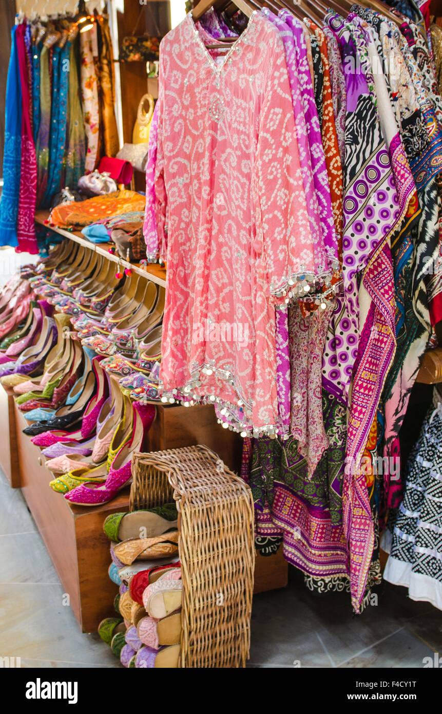 Clothes and textiles at the Souk Madinat Jumeirah market