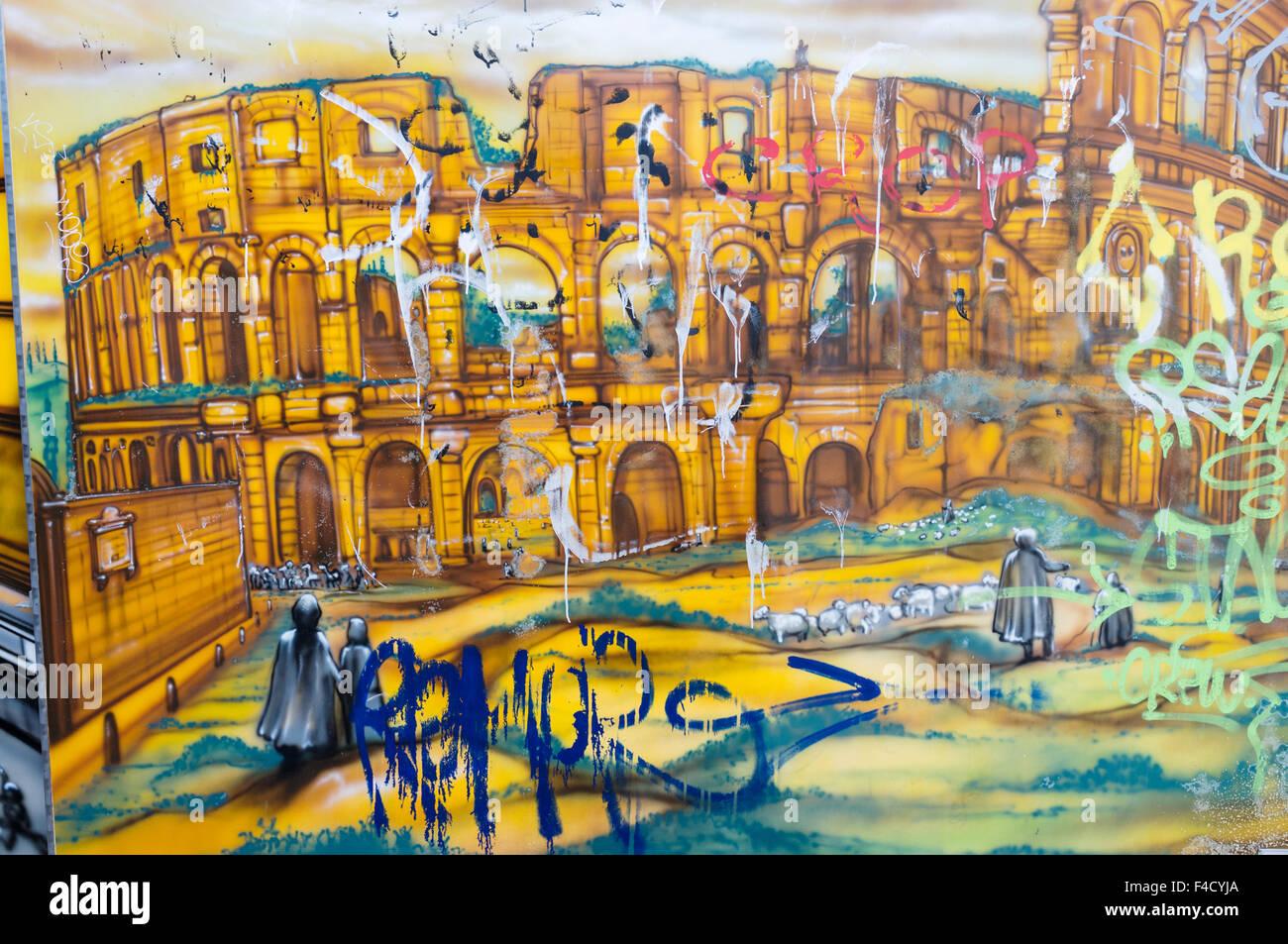 Colosseum graffiti. Testaccio, Rome, Italy Stock Photo