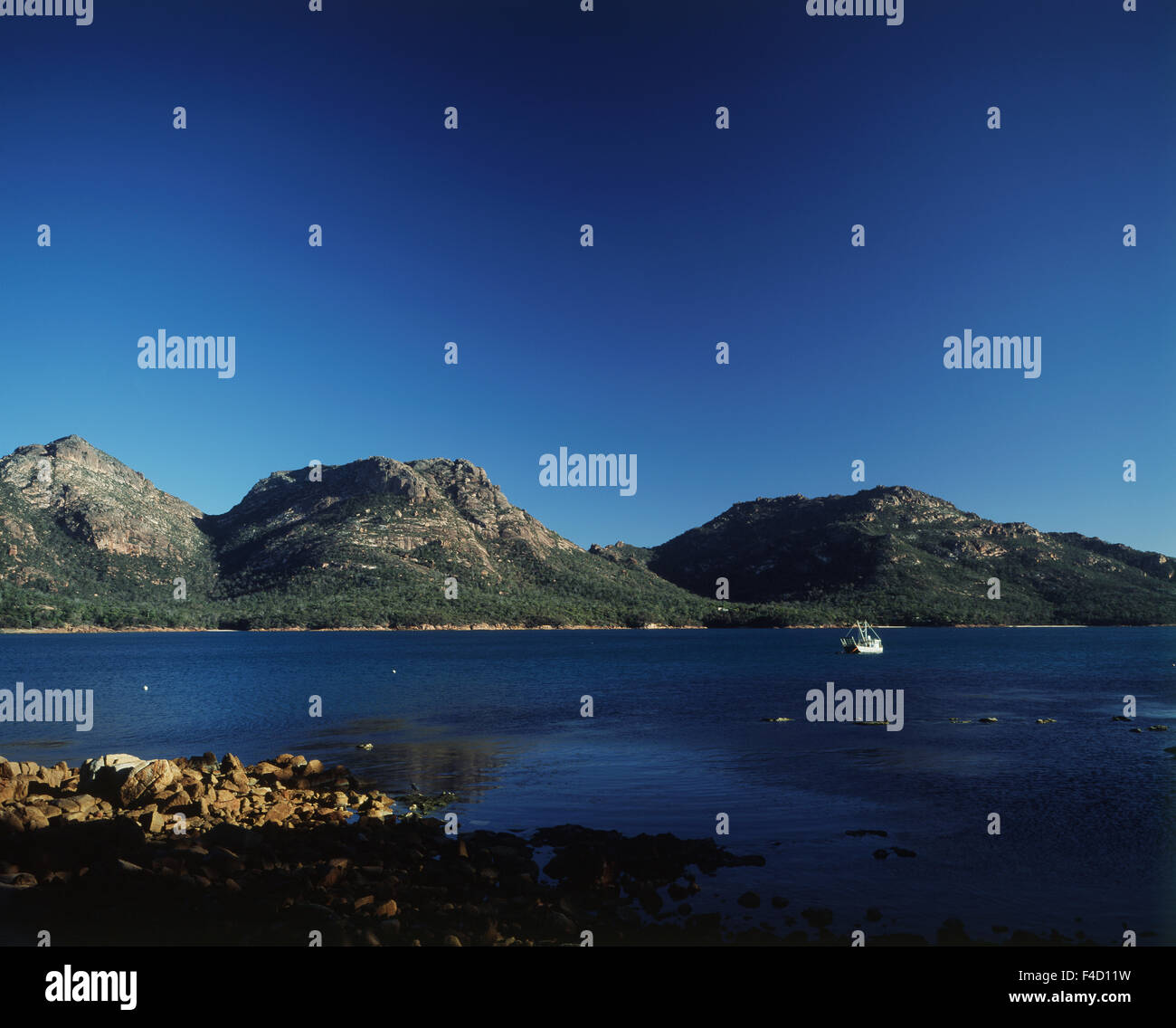 Australia, Tasmania. Peaks of Hazards and Coles Bay. (Large format sizes available) - Stock Image