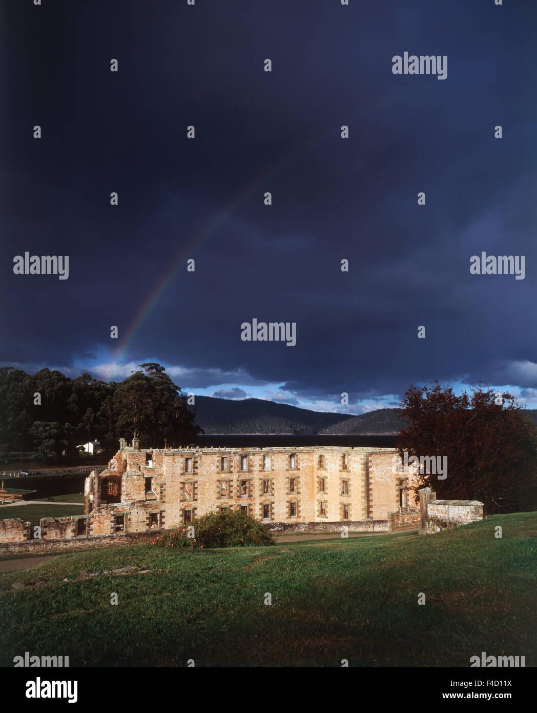 Australia, Tasmania. rainbow over penitentiary. (Large format sizes available) - Stock Image