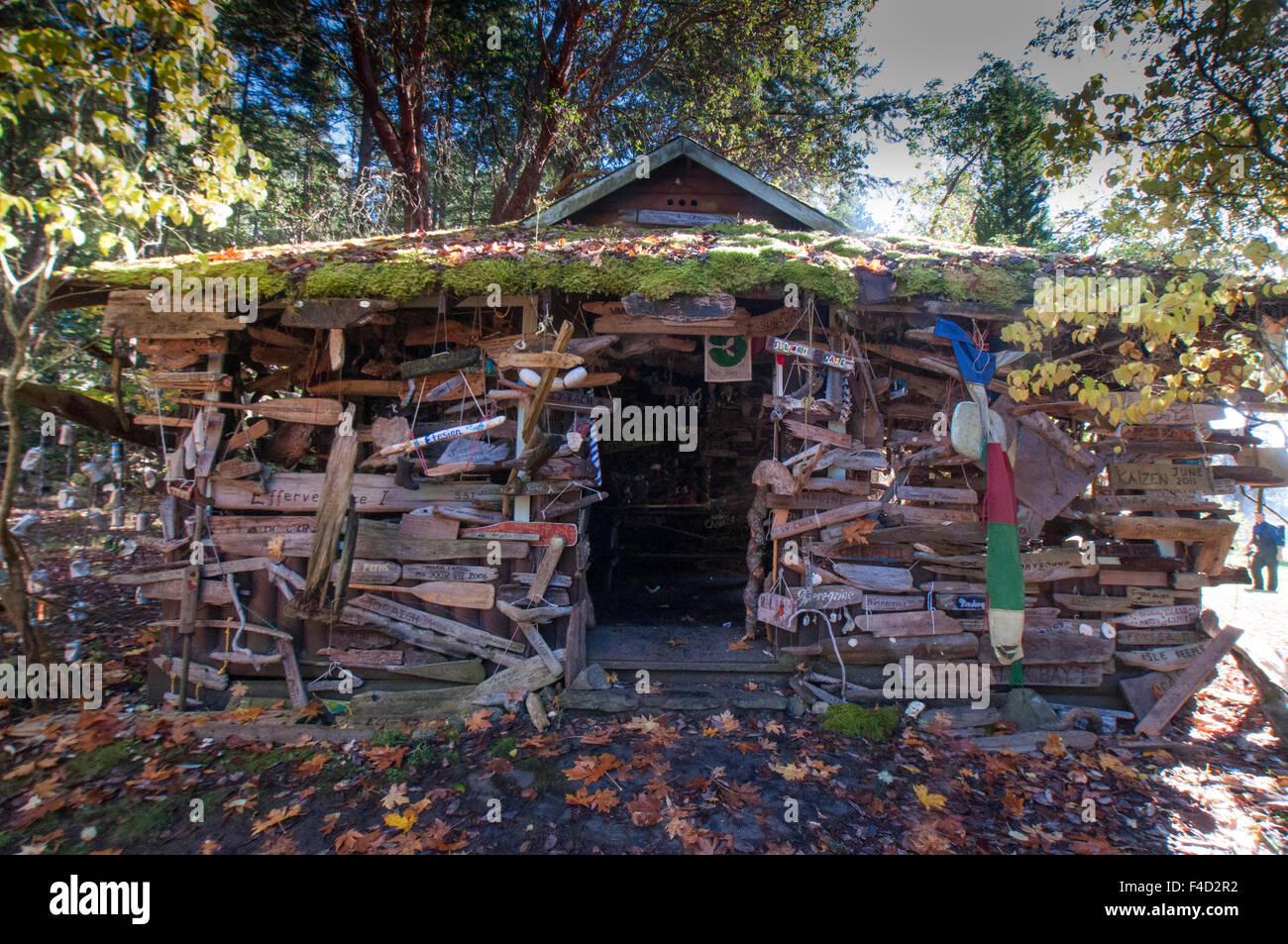 Driftwood Enhanced Cabin, Wallace Island, Gulf Islands National Park Reserve, British Columbia, Canada. - Stock Image