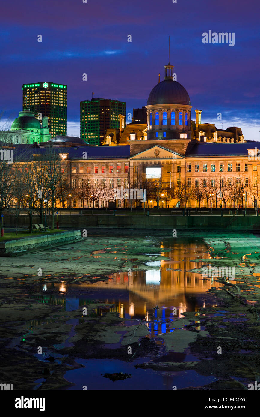 Canada, Montreal, Old Port, Marche Bonsecours, market building, dusk - Stock Image