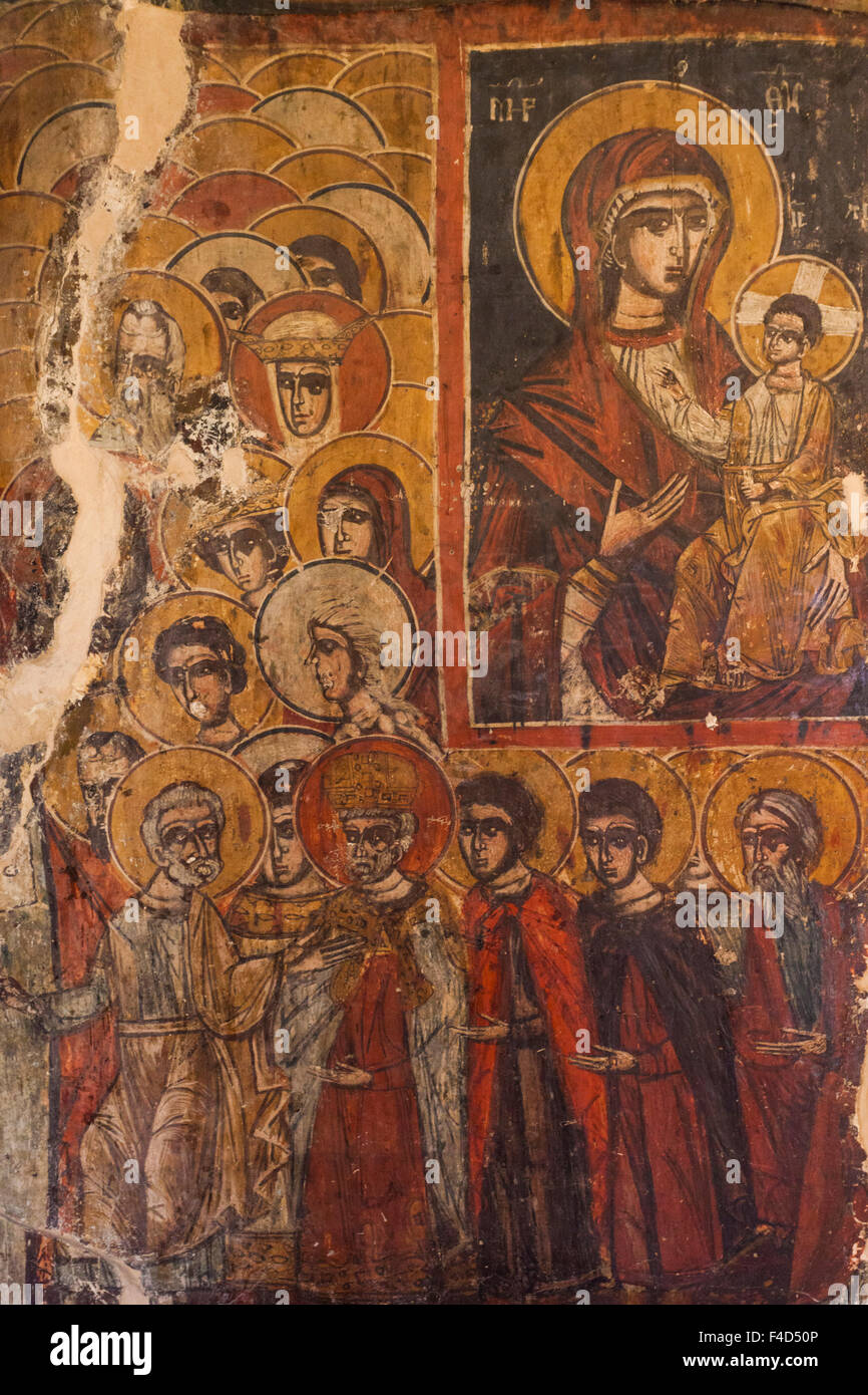 Albania, Korca, Mborja, 14th century frescoes of the Holy Resurrection church - Stock Image