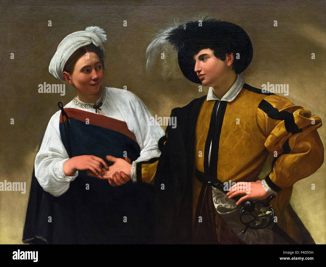 Rome. Italy. The Fortune Teller (1595), by Caravaggio, Capitoline Museums. Stock Photo