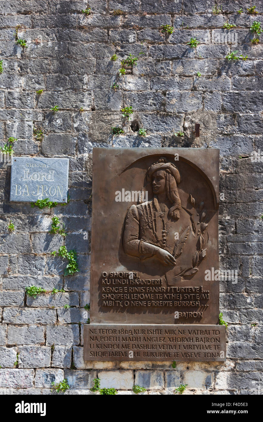 Albania, Tepelena, frieze to Lord Byron, champion of Greek independence - Stock Image