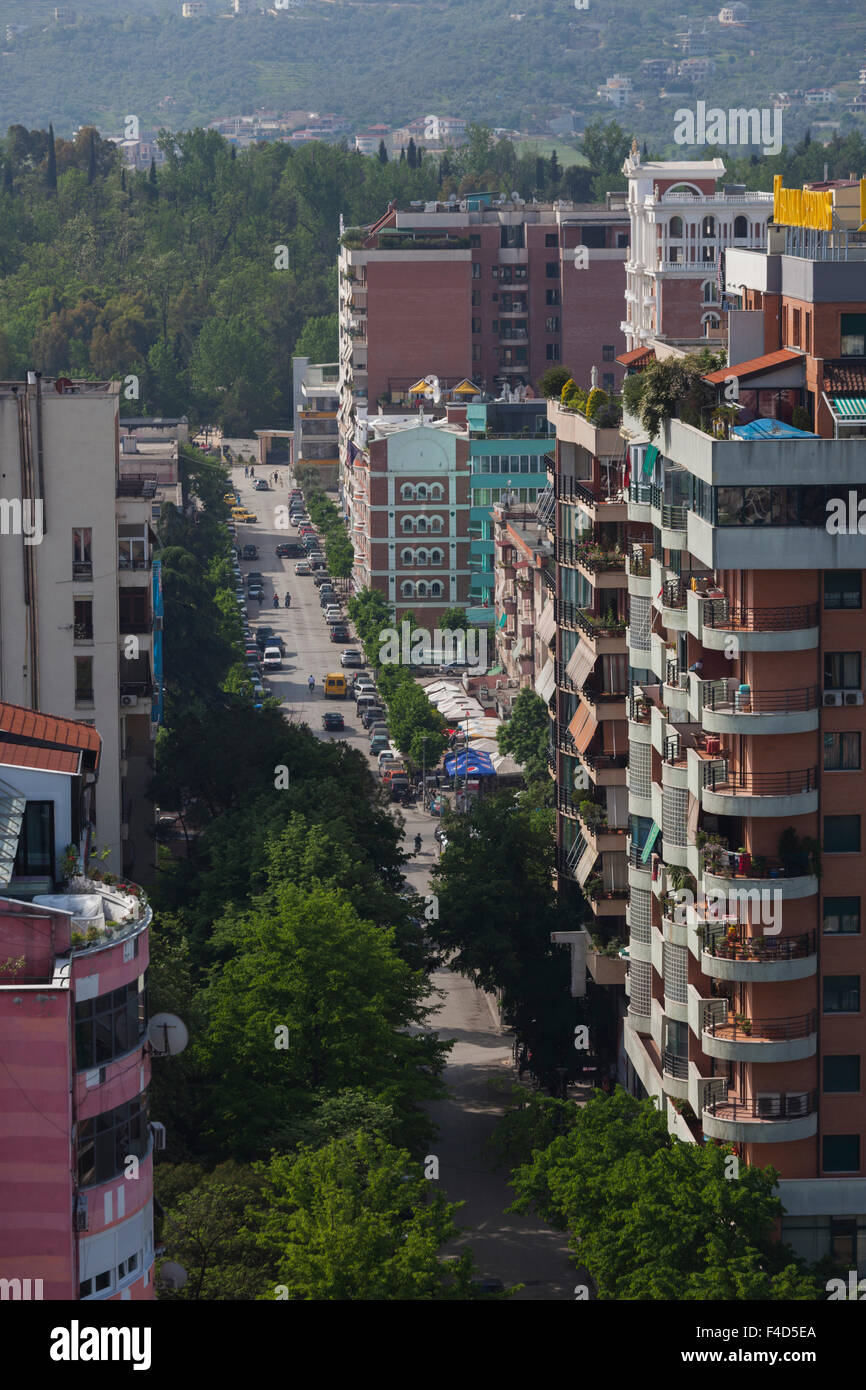 Albania, Tirana, Blloku, formerly used by Communist party elite, elevated view - Stock Image