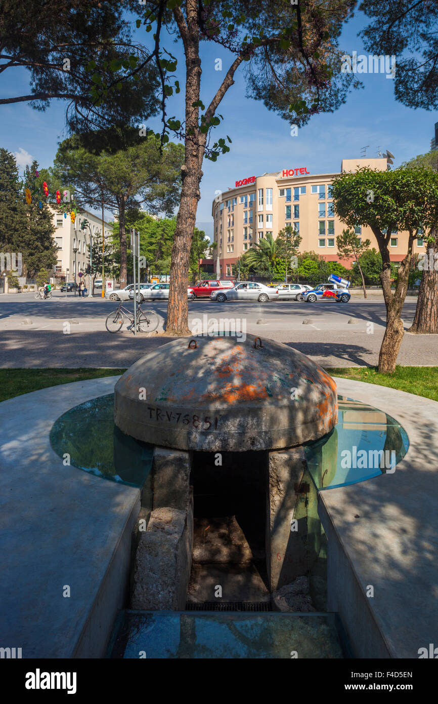 Albania, Tirana, bunker outside Blloku, formerly used by Communist party elite and Rogner Hotel - Stock Image