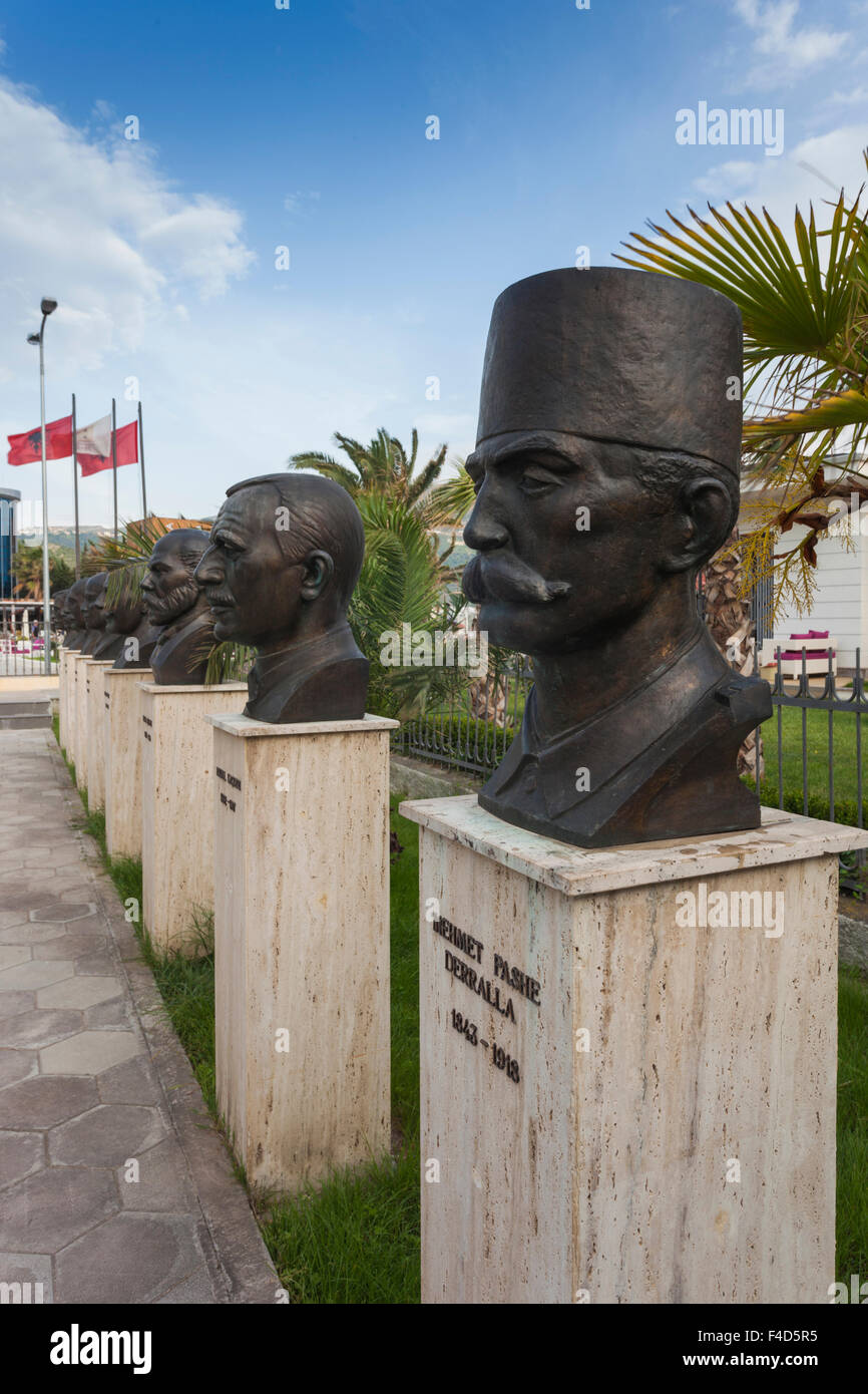 Albania, Vlora, Museum of Independence, busts of fighters for Albanian Independence - Stock Image