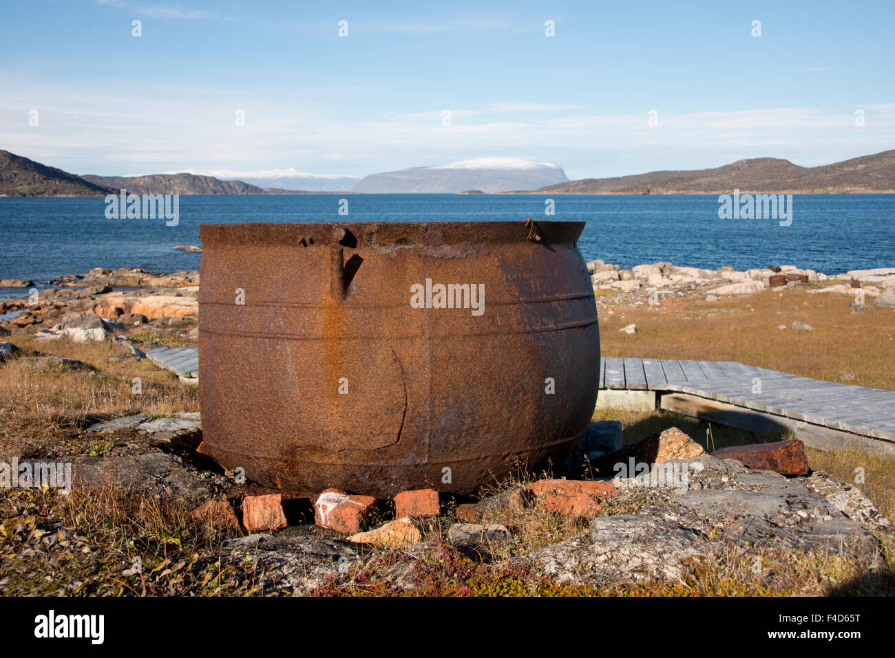Canada, Nunavut, Qikiqtaaluk Region, Kekerten Island. Kekerten Historic Park preserving whaling artifacts. Whale - Stock Image