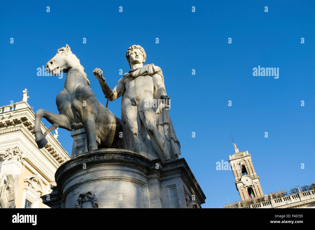 Castor and Pollux monument on top of the of the cordonata on Piazza del Campidoglio,Capitoline Hill. Rome, Italy - Stock Image