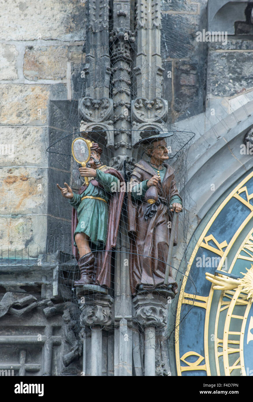 Europe, Czech Republic, Bohemia, Prague, Astronomical Clock, Vanity and Greed Statues depicted fears of medieval - Stock Image