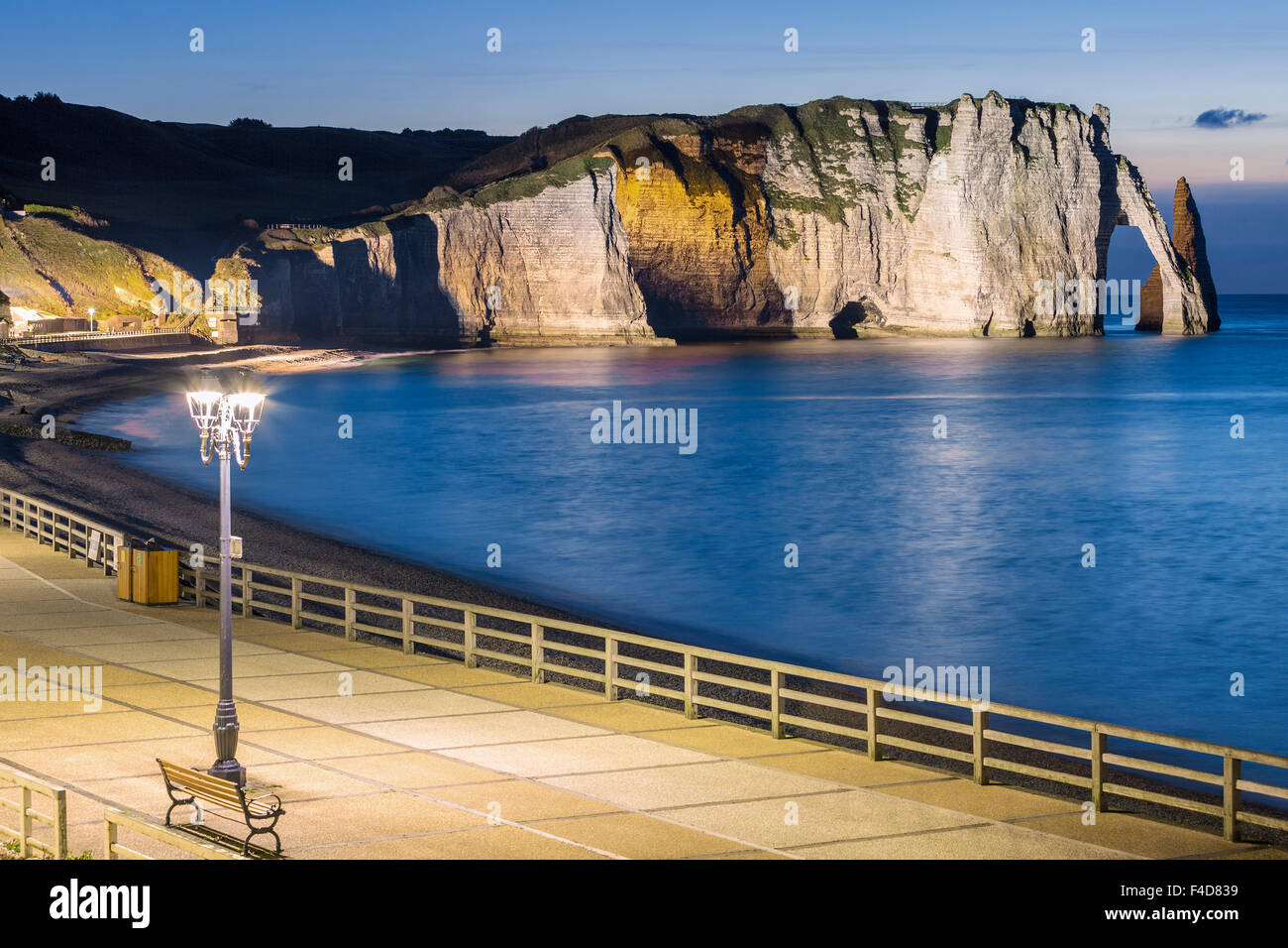 View of Etretat Aval cliff by night - Stock Image