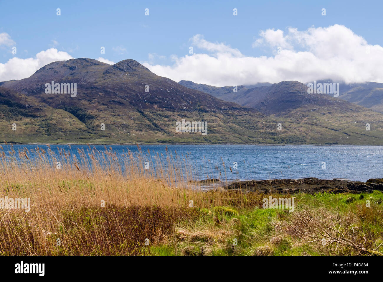 View south across Loch na Keal to cloud covered Ben More and mountains. Isle of Mull Inner Hebrides Western Isles - Stock Image