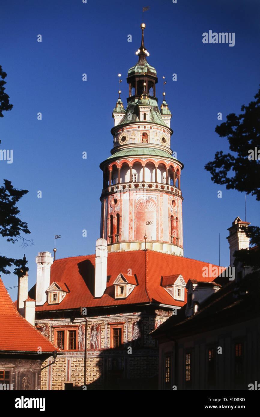 Czech Republic, South Bohemian Region, Cesky Krumlov. chateau tower. (Large format sizes available) - Stock Image