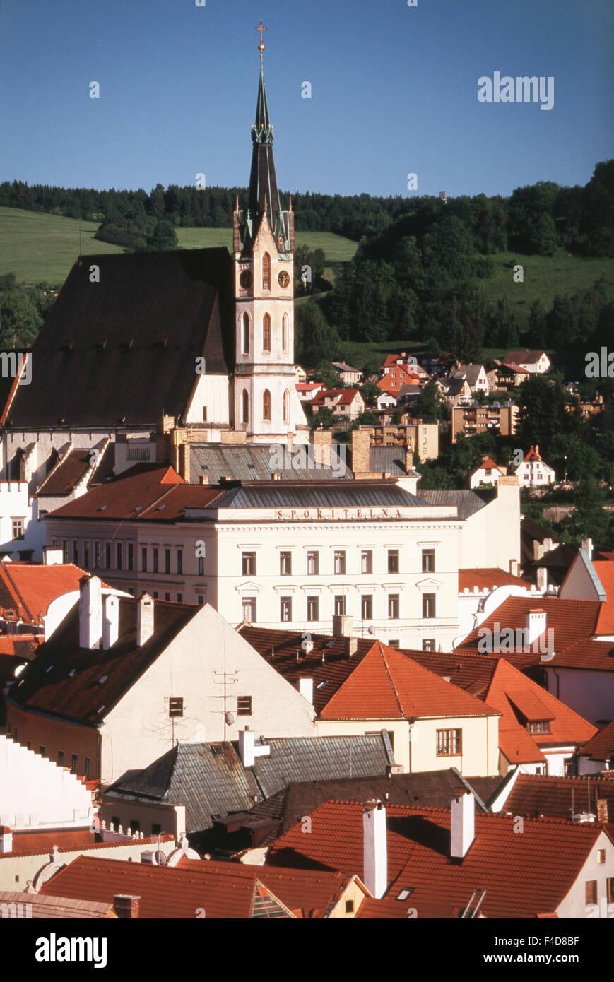 Czech Republic, South Bohemian Region, Cesky Krumlov. town and castle. (Large format sizes available) - Stock Image