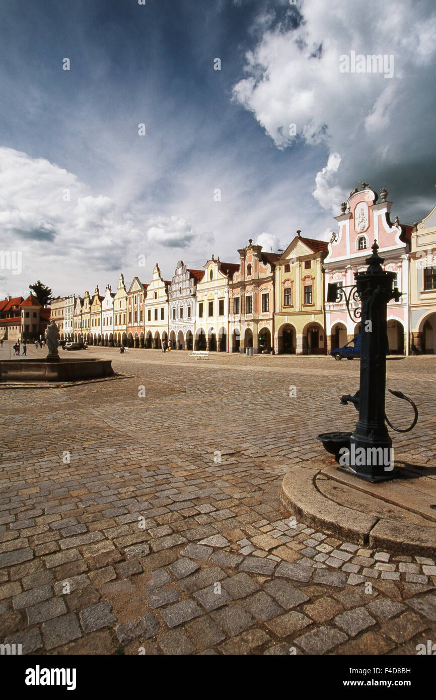 Czech Republic, South Moravian Region, Namesti Zachariase z Hradce. Renaissance Houses. (Large format sizes available) - Stock Image