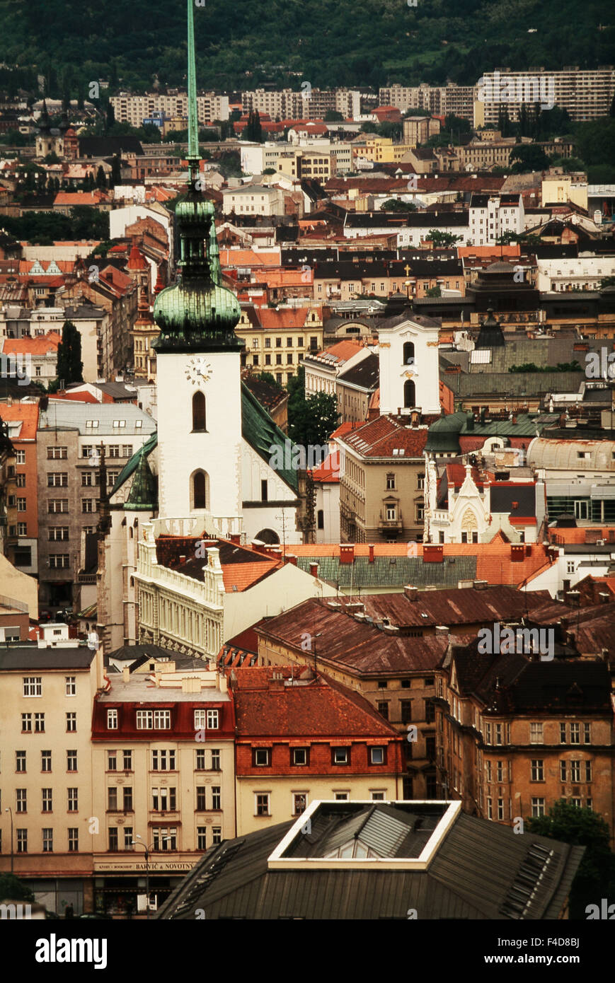 Czech Republic, South Moravian Region. town and church of St. James from Spilberk Castle. (Large format sizes available) - Stock Image