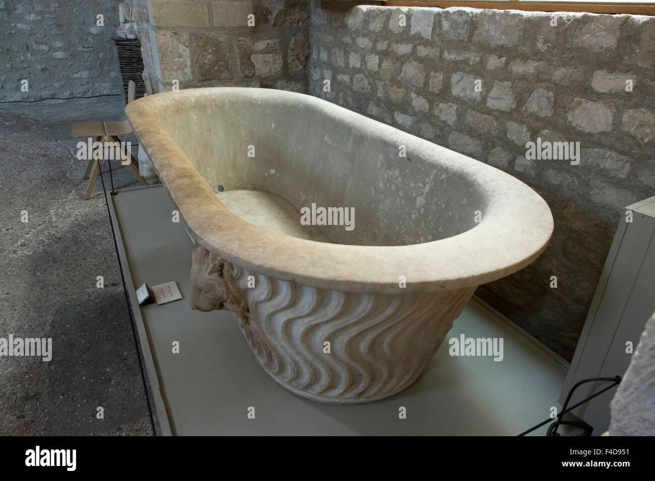 Europe, France, Paris. A tub in the Roman Bath vault of the Cluny ...