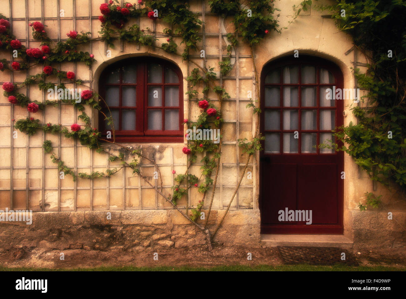 France, Indre-et-Loire, Loire Valley, Chateau de Chenonceau, Doorway of rose cottage. (Large format sizes available) - Stock Image