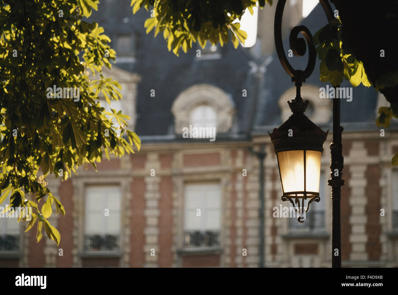 France, Paris, Place Des Vosges, Streetlight Detail. (Large format sizes available) - Stock Image
