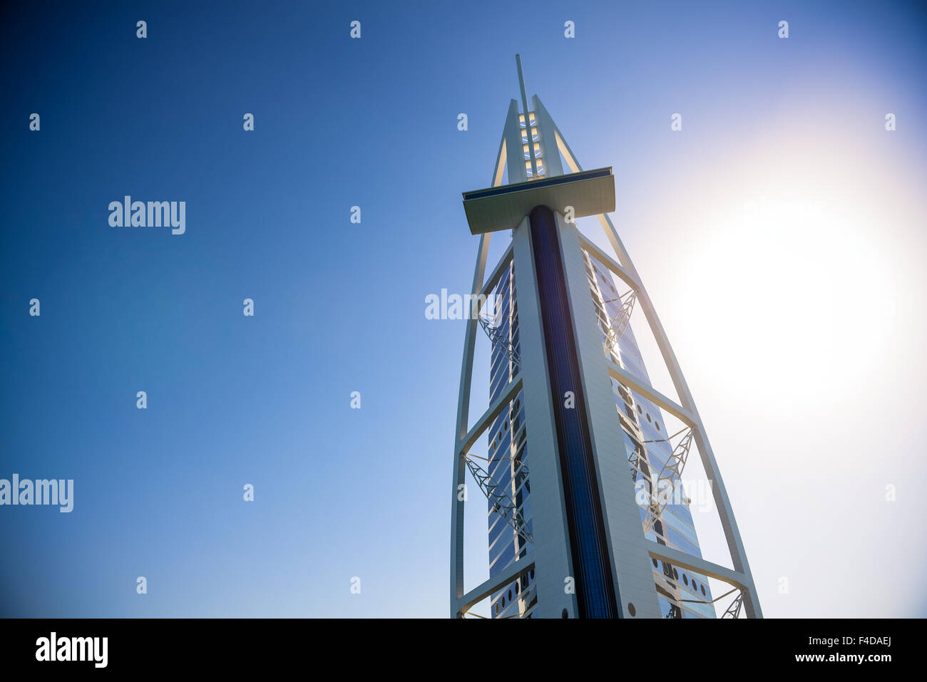 Hotel Burj Al Arab, Dubai, from an extreme angle taken from the water. - Stock Image