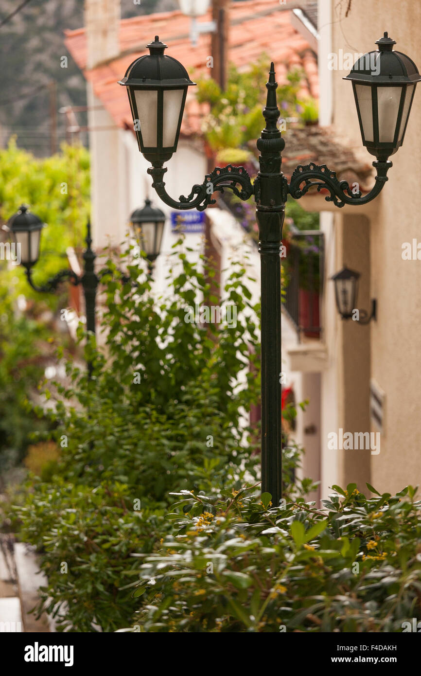 Central Greece, Delphi, streetlight - Stock Image