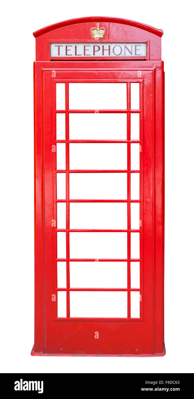 British red phone booth isolated on white background - Stock Image