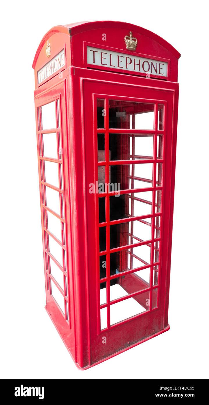 british red telephone box isolated on white background - Stock Image