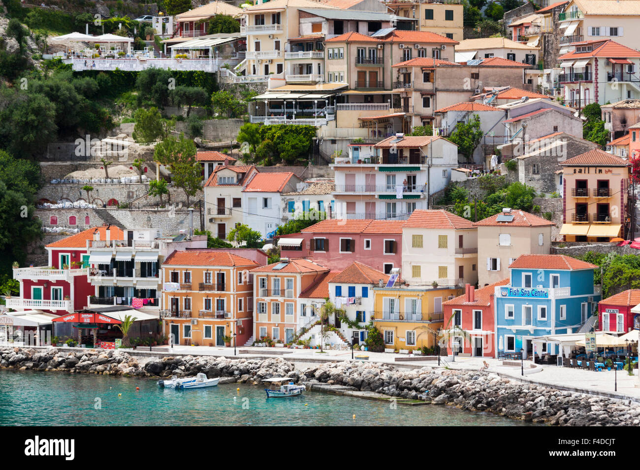 Greece, Epirus, Parga, elevated town view from the Venetian Castle - Stock Image