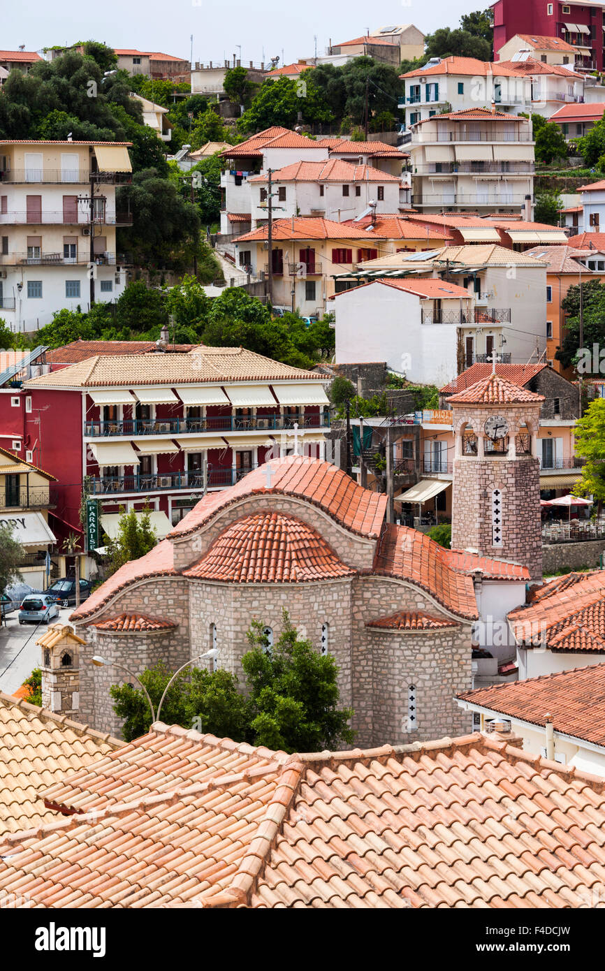 Greece, Epirus, Parga, elevated town view from the Venetian Castle Stock Photo