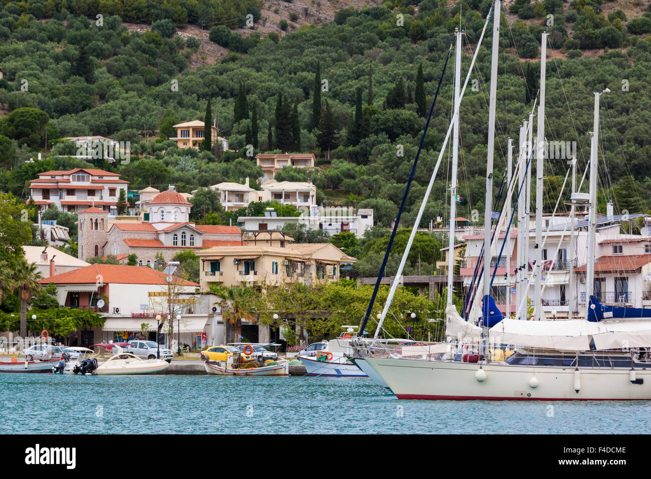 Greece, Epirus, Plataria, small Ionian Sea resort, harbor view - Stock Image