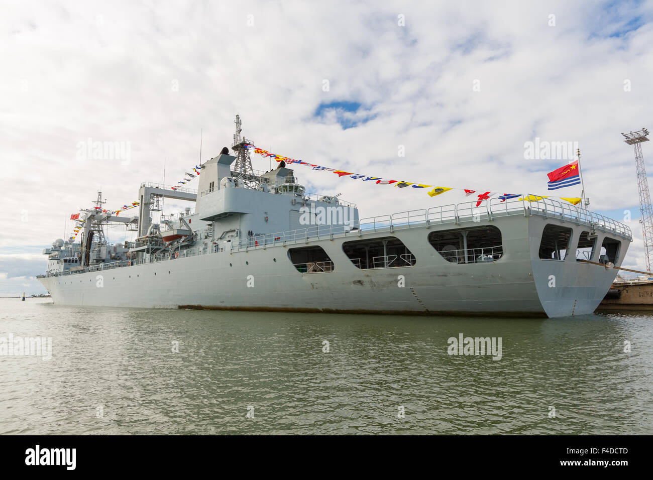 Stern of the replenishment ship AOR Qiandaohu, moored in Helsinki on the very first Chinese naval visit to Finland - Stock Image